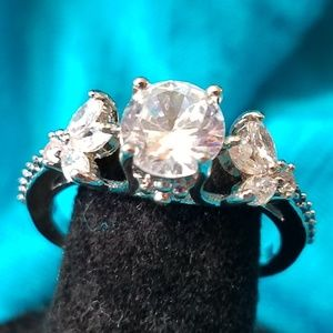 NWOT 925 Ring Simulated white and black Diamonds